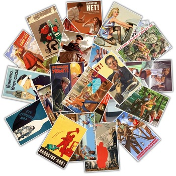 25Pcs Mixed Stalin USSR CCCP Poster Stickers for DIY Laptop Luggage Refrigerator Door Decor Waterproof Toy Sticker 1