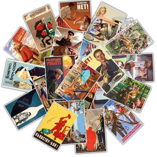 25Pcs Mixed Stalin USSR CCCP Poster Stickers for DIY Laptop Luggage Refrigerator Door Decor Waterproof Toy Sticker