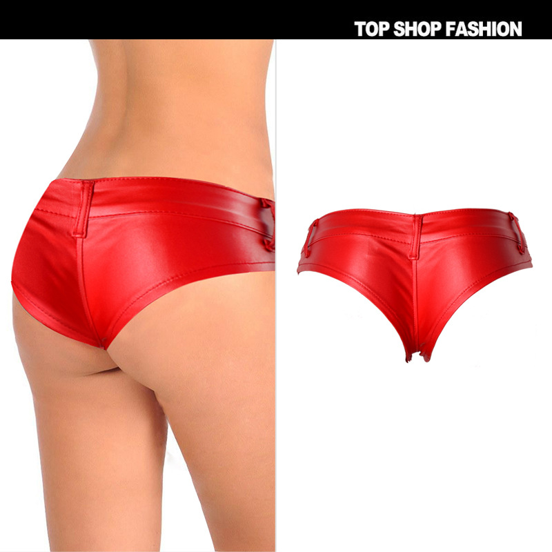 2018 Female Hot Cool Super   Short   Red Summer Under Skirt   Shorts   For Women PU Leather Pole Dance Micro Flim Fitness Mini Sexy
