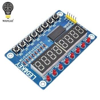 TM1638 moduł wyświetlacz klucza do AVR Arduino nowy 8-Bit cyfrowe świetlówka led 8-Bit WAVGAT