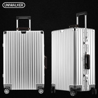UNIWALKER 100% Aluminum Retro Luggage Leather Handle Rolling Trolley Travel Hardside Luggage with Aircraft Wheels Metal Rod