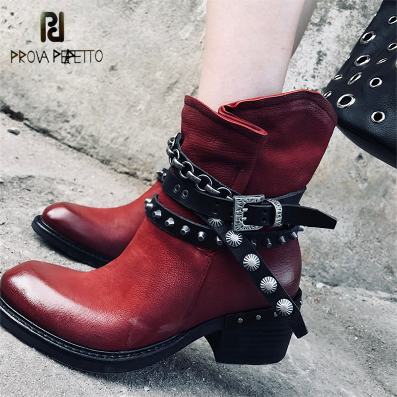 Prova Perfetto Ankle Boots for Women Handmade Gladiator Riding Boots 5CM Heel Platform Rubber Shoes Woman