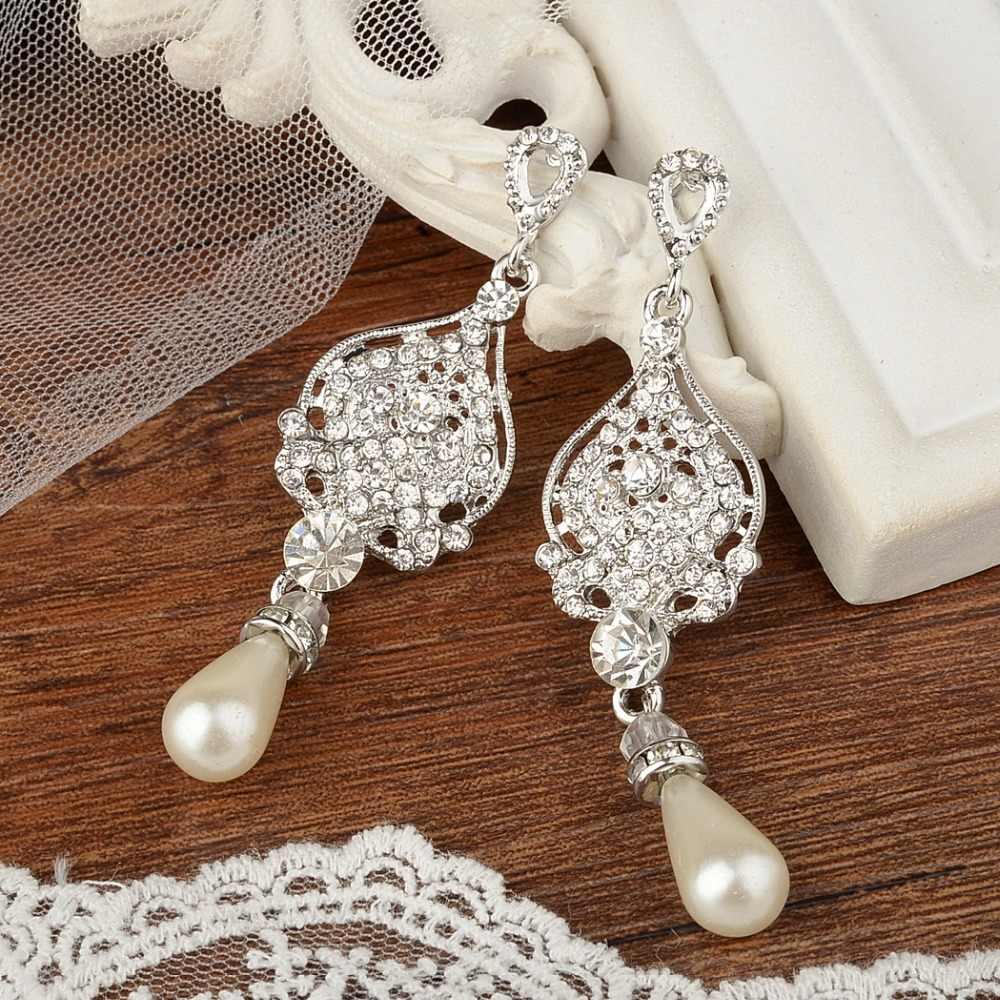 e1a1b415c Tuliper Bridal Art Deco Teardrop Earrings Austrian Crystal Simulated Pearl  Dangle Earrings For Wedding Party Jewelry