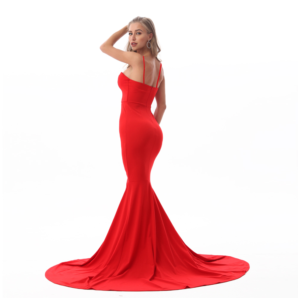 Strapless Split Front  Mermaid Sleeveless Elegant Dress 22