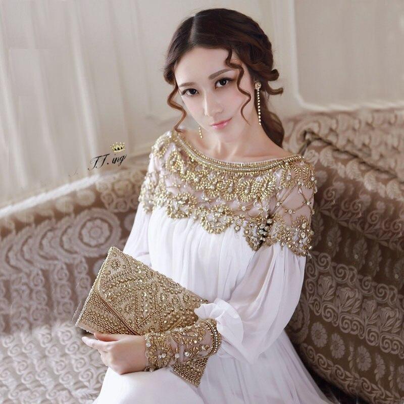Newest Fashion 2019 Summer Baroque Designer Runway Dress Women s Long Sleeve Metal Beaded Rivet Pleated