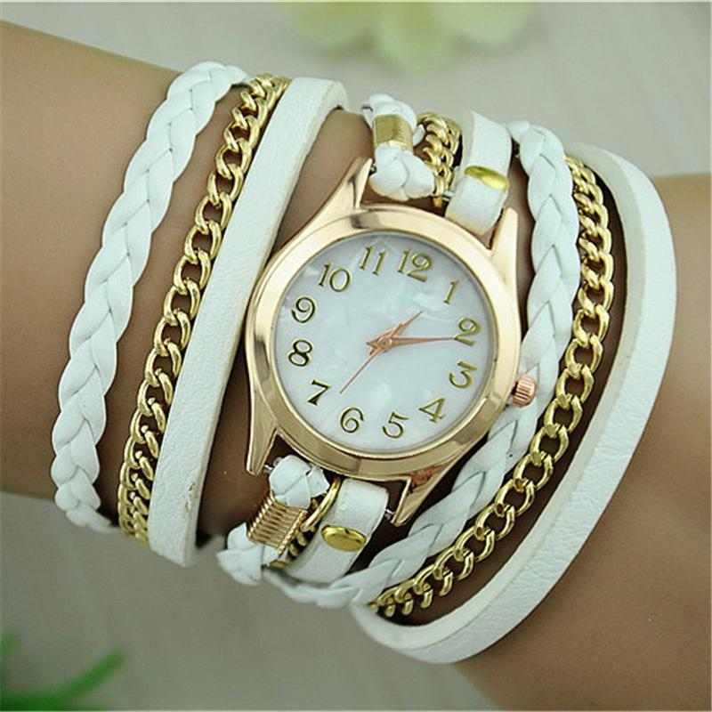 2017 New Fashion Band Wrap Women Bracelet Quartz Wrist Watch Female Alloy PU leather Retro Vintage Colorful Multilayer Strap stylish bracelet band women s quartz analog wrist watch coffee golden 1 x 377
