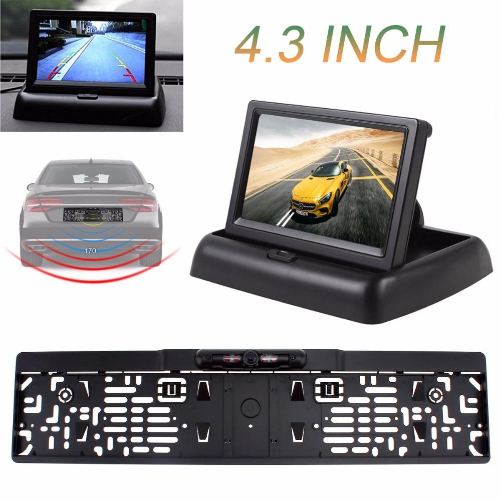 4.3 ''moniteur de voiture pliable 12 V affichage de TFT-LCD aide au stationnement de voiture + 4 IR lumière EU voiture plaque d'immatriculation cadre caméra de vue arrière