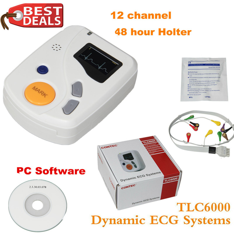 Dinâmica TLC6000 48 hora 12 Canal ECG/EKG Holter CONTEC Monitor Recorde Alalyzer Fabricação CE FDA
