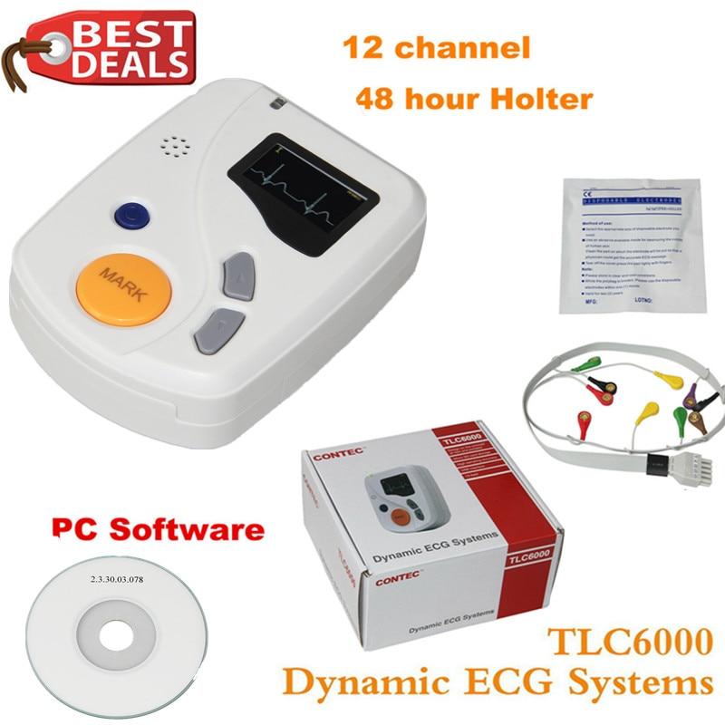 Dynamic TLC6000 48hour 12 Channel ECG EKG Holter Monitor Alalyzer Recorde CONTEC Manufacture CE FDA