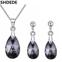 SHDEDE Water Drop Crystal From Swarovski High Quality Necklace Earrings Women Jewelry Sets Rhinestone Bijoux Accessories