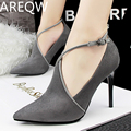 AREQW 2017 Sexy Recovery of Fine Black High Heels At The Bottom of The Hollow Fine Pointed High Heels with Velvet Noodles Cross