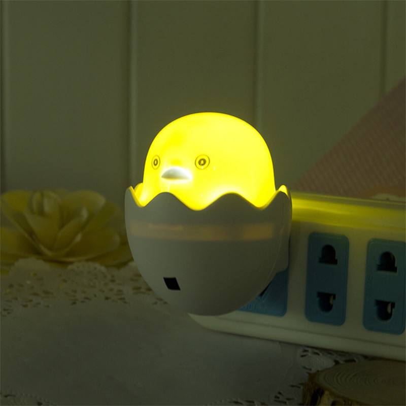 Yellow Duck AC110-220V Wall Socket Led Night Lights EU/US Plug Control Sensor Nightlight ...