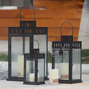 European wrought iron retro portable outdoor landing light lanterns Hotel model room dining room candlestick ornaments