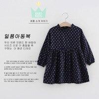 החדש Sping, סתיו בנות להתלבש dk כחול עם דפוס פרחוני נסיכת שמלות לוליטה סגנון בגדי ילדי שמלת שרוול ארוך