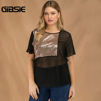 GIBSIE Plus Size Women Summer Color Block Sequin Top Chiffon See Through Black T Shirt Female O-neck Short Sleeve Casual Tshirt