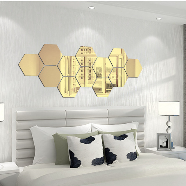 7pcs Gold Diy Hexagon Mirror Wall Stickers Removable Vinyl Art Mural