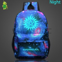 39059eb46766 Supernatural Winchester Bros Galaxy Space Backpack Luminous School Bags for  Teens Men Women Starry Night Backpacks
