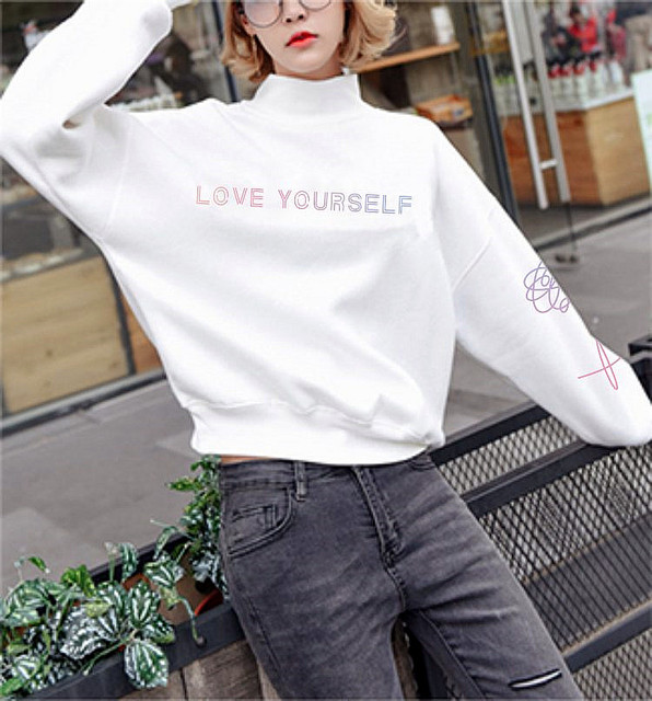 724ee971c82 BTS Love Yourself Turtleneck Harajuku Sweatshirt Women Spring Autumn  Pink Black Hoodies Sweatshirts Pullover Loose Tracksuit