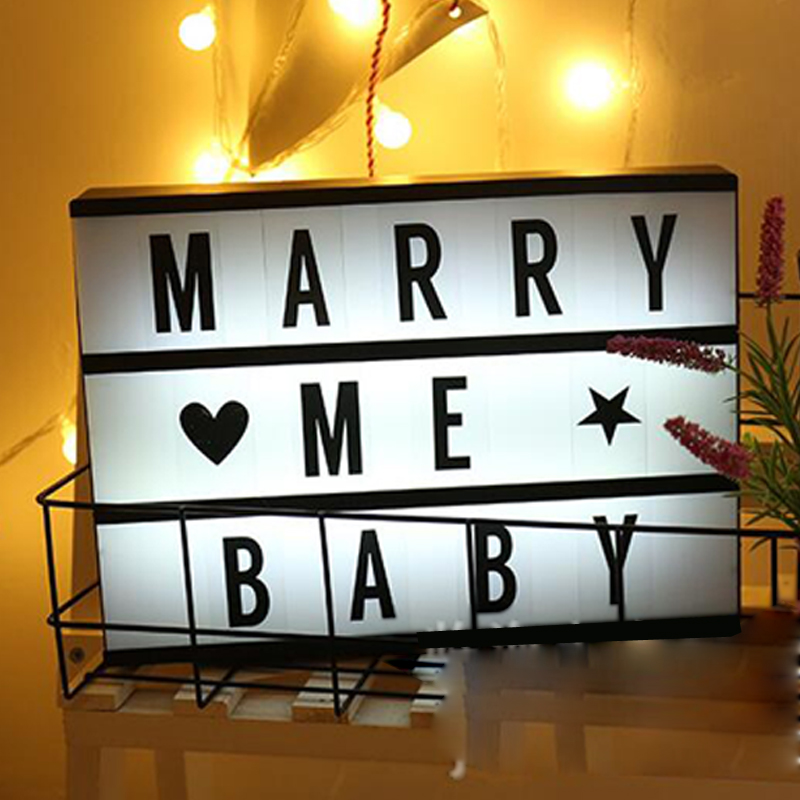 A4 Size lightbox letters Night Lamp Power AA Battery Or USB Cable With Sign Letters For Home Decor Lighting Night Light Kids
