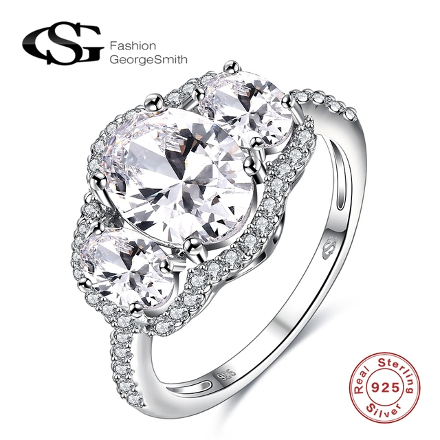 925 Sterling Silver Ladies 3 stone Cubic Zirconia 925 Sterling Silver Ring duhHvXc