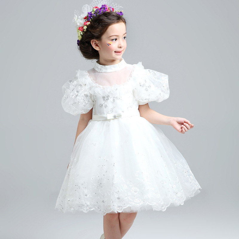Ball Gown Flower Girl Dresses Puff Sleeve Kids Pageant Dress for Wedding Birthday Knee Length Girls Prom Dress Party Costume B50 стоимость