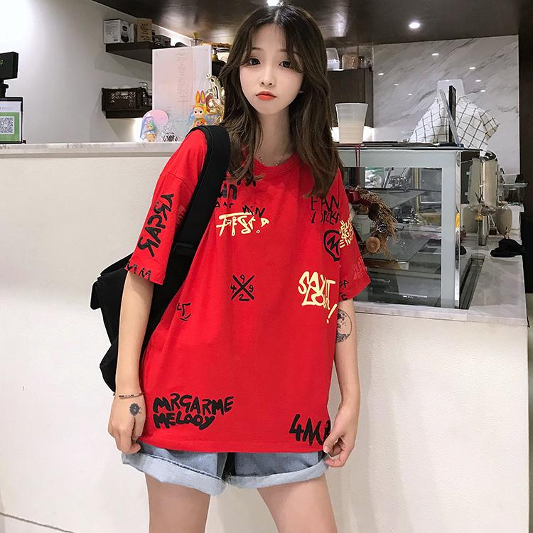 T-shirts Women Graffiti BF European Style Loose Harajuku Hip Hop Streetwear Chic Couple Clothes Unisex Daily Tshirt Womens Soft 93