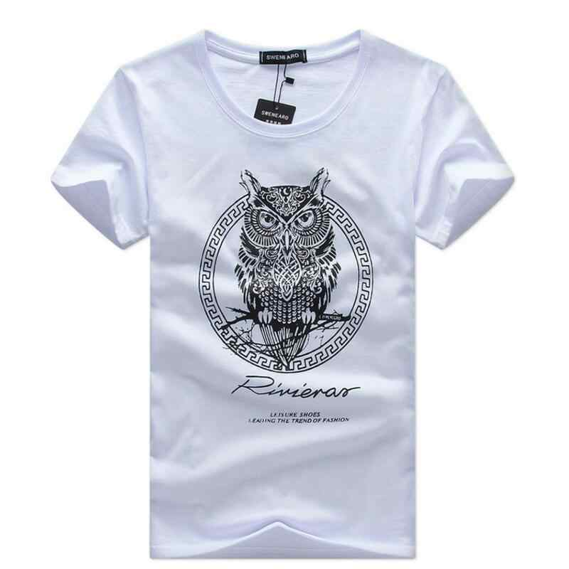 Men's T-Shirts plus size 5XL Summer short sleeved owl cartoon printed t shirt men t shirt Casual Brand cotton tee shirt homme