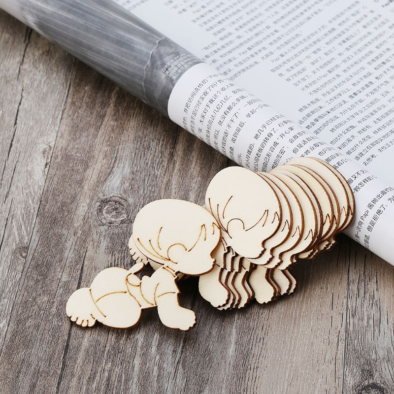 10pcs Laser Cut Wood Embellishment Wooden Baby Shape Craft Wedding Decor