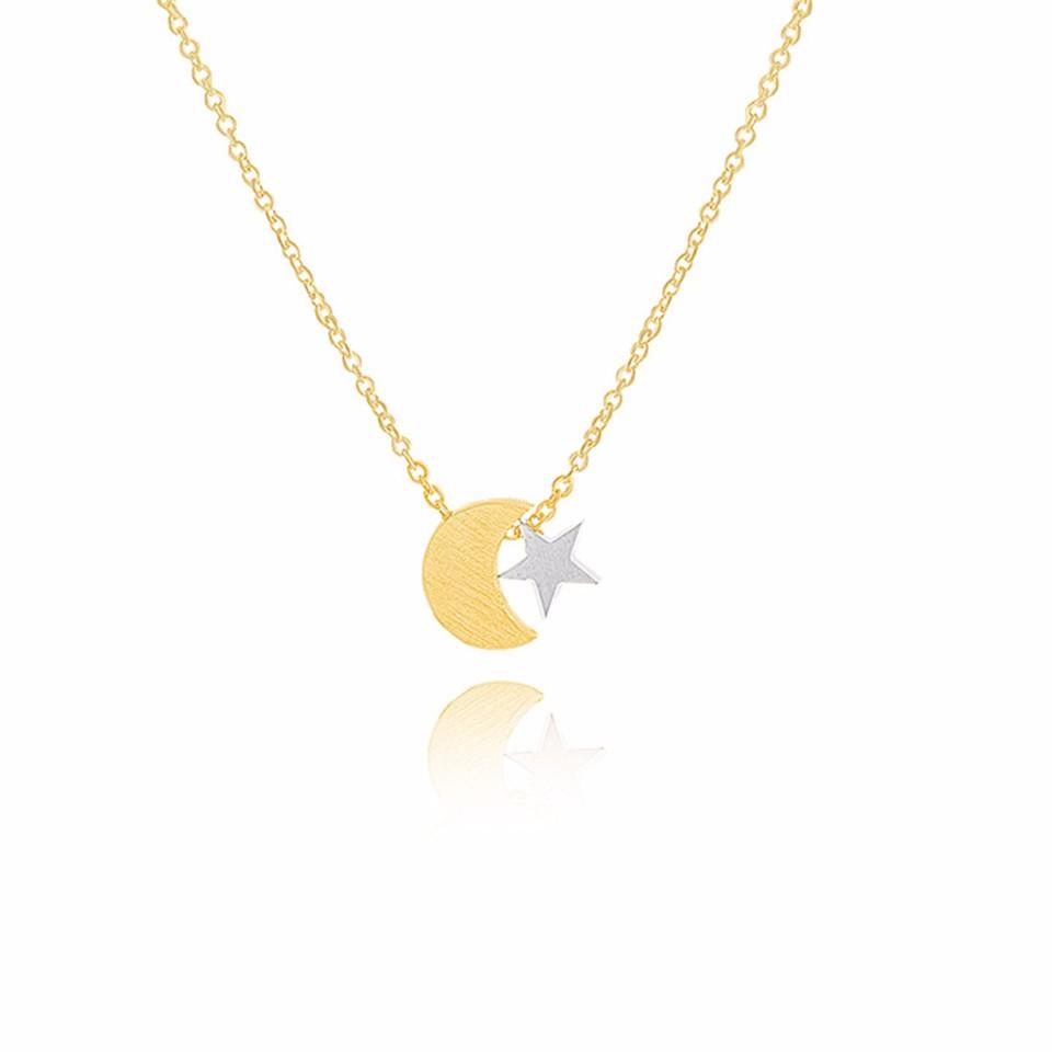 Pendentif Collier Acier Inoxydable Croissant Lune étoile Femmes