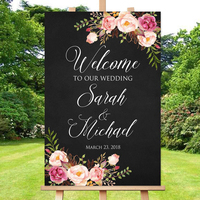 Personalized Welcome Wedding Sign Chalkboard Welcome Wedding Sign Welcome to Our Wedding Sign Pink Flowers Printable Sign