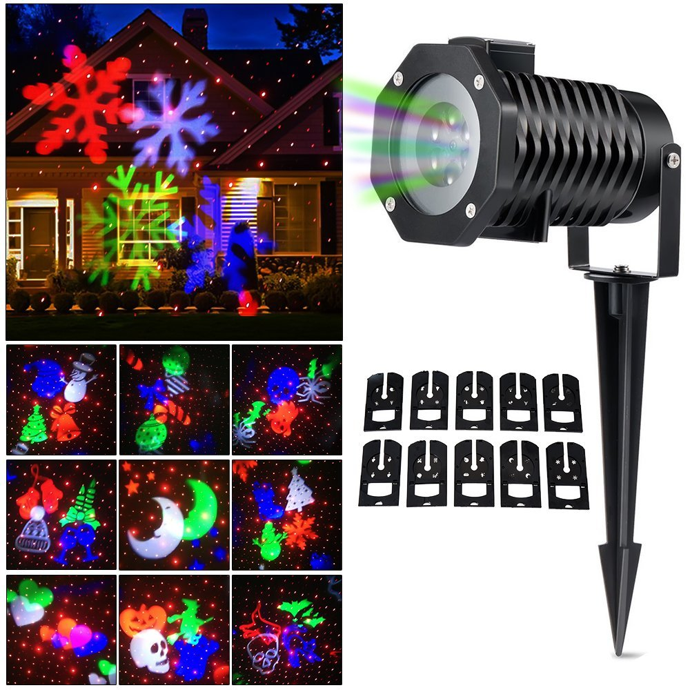 Outdoor Snowflake Lights, Waterproof LED Projection Lamp Auto Moving Spotlights with 10PCSSwitchable Pattern Cards for Christmas waterproof projector lamps rgbw snowflake led stagelights outdoor indoor decor spotlights for christmas party holiday decoration