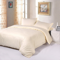 High Quality Cotton 1cm Stripe Plain Solid White Beige Queen King Hotel Bedding Set Duvet Cover