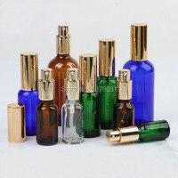 5 ml, 10 ml, 15 ml, 20 ml, 30 ml, 50 ml, 100 ml boş Altın Ince Sis Püskürtücü ile Yeni Cam Sprey Şişe Atomizer için uçucu yağlar parfüm