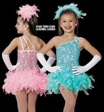 Child costume female child ballet dance dress Latin clothes Blue Pink