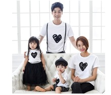 Free shipping new short sleeve t shirts family look fashion mother father baby cotton family outfits full of love