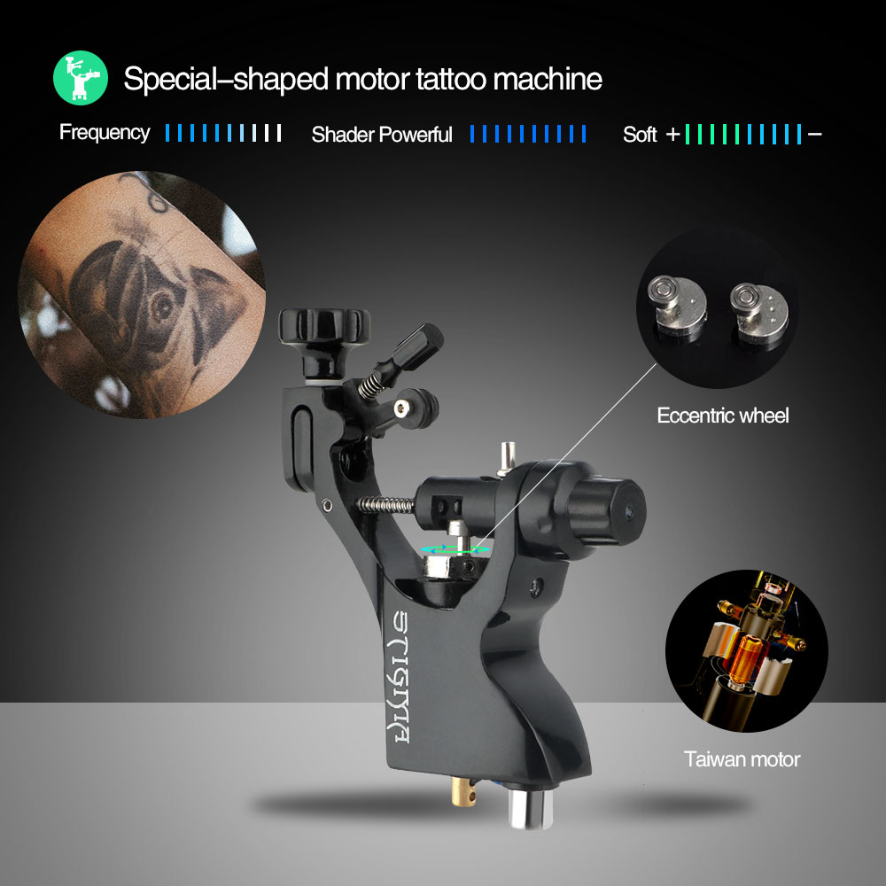 Solong Tattoo New Rotary Tattoo Machine Guns Shader Liner 3 Stroke Excenters Allen Key Black M659-1