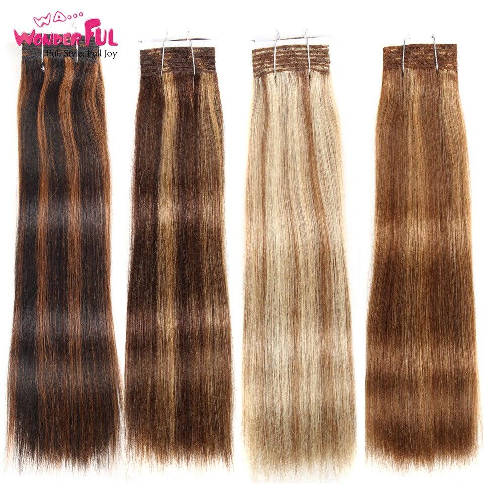 Wa...Wonderful Double Drawn Brazilian Remy Human Hair Bundles Yaki Straight Hair Weave Color #P6/613 Piano Colors Blonde Bundles