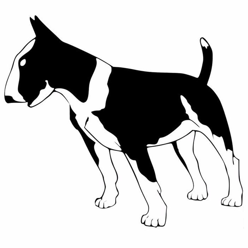 15.2*13.5CM Bull Terrier Dog Cute Animal Decals Car Styling Fashion Creative Cartoon Stickers Black/Silver C6-1699