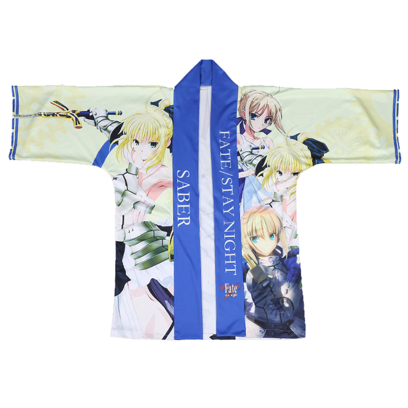 Japanese Fashion Men Women Casual Kimono Yukata Fate/stay night Altria Pendragon Saber Cloak Haori Cosplay Costume