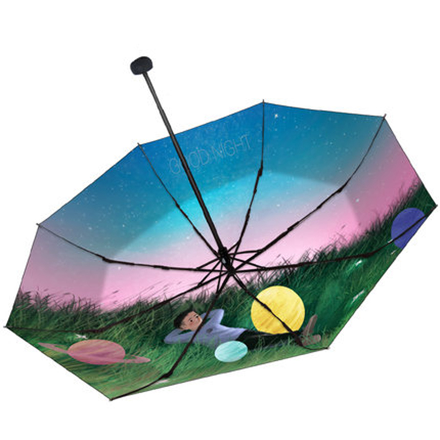 Parapluie de pluie pliant soleil femmes UV fille changement de couleur nouveauté articles parapluies magiques mâle enfants peinture Parasol cadeaux 40S188 - 3