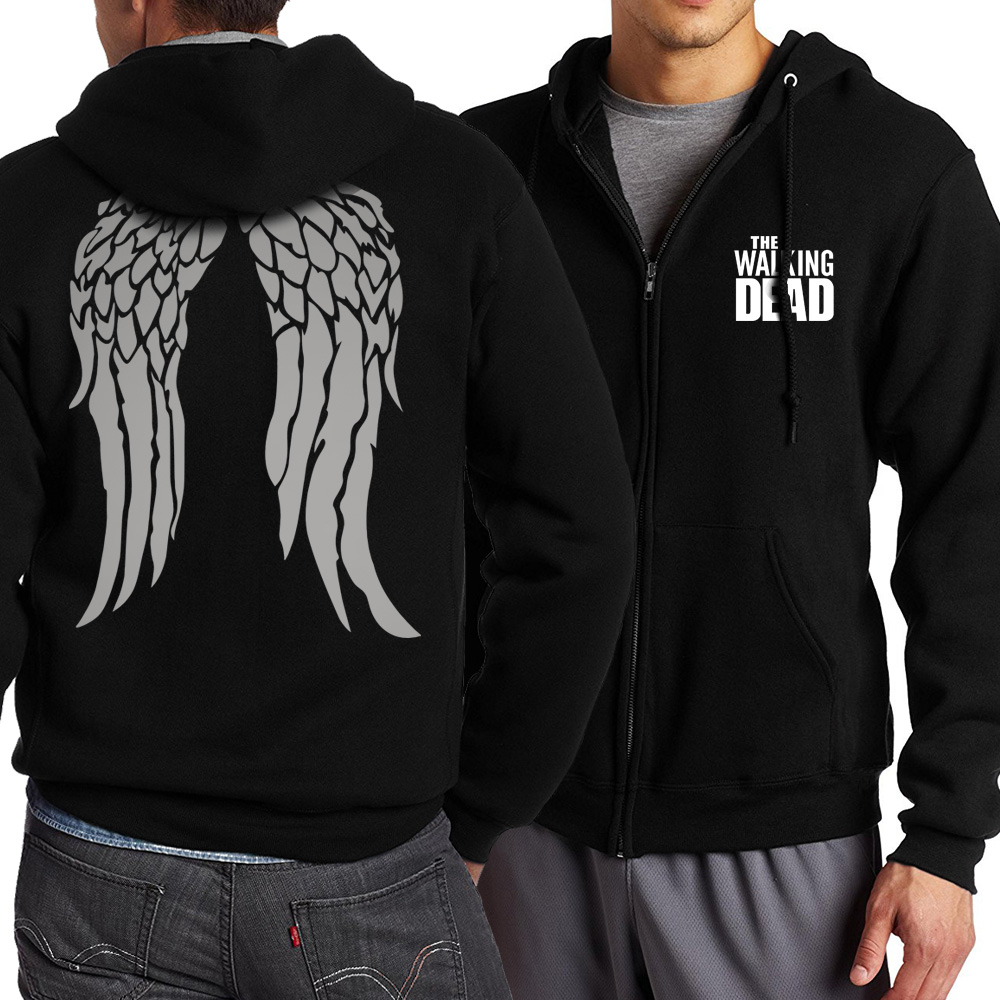 man bodybuilding harajuku jackets funny Zombie Daryl Dixon Wings zipper coats 2019 men plus size sweatshirt brand tracksuits mma