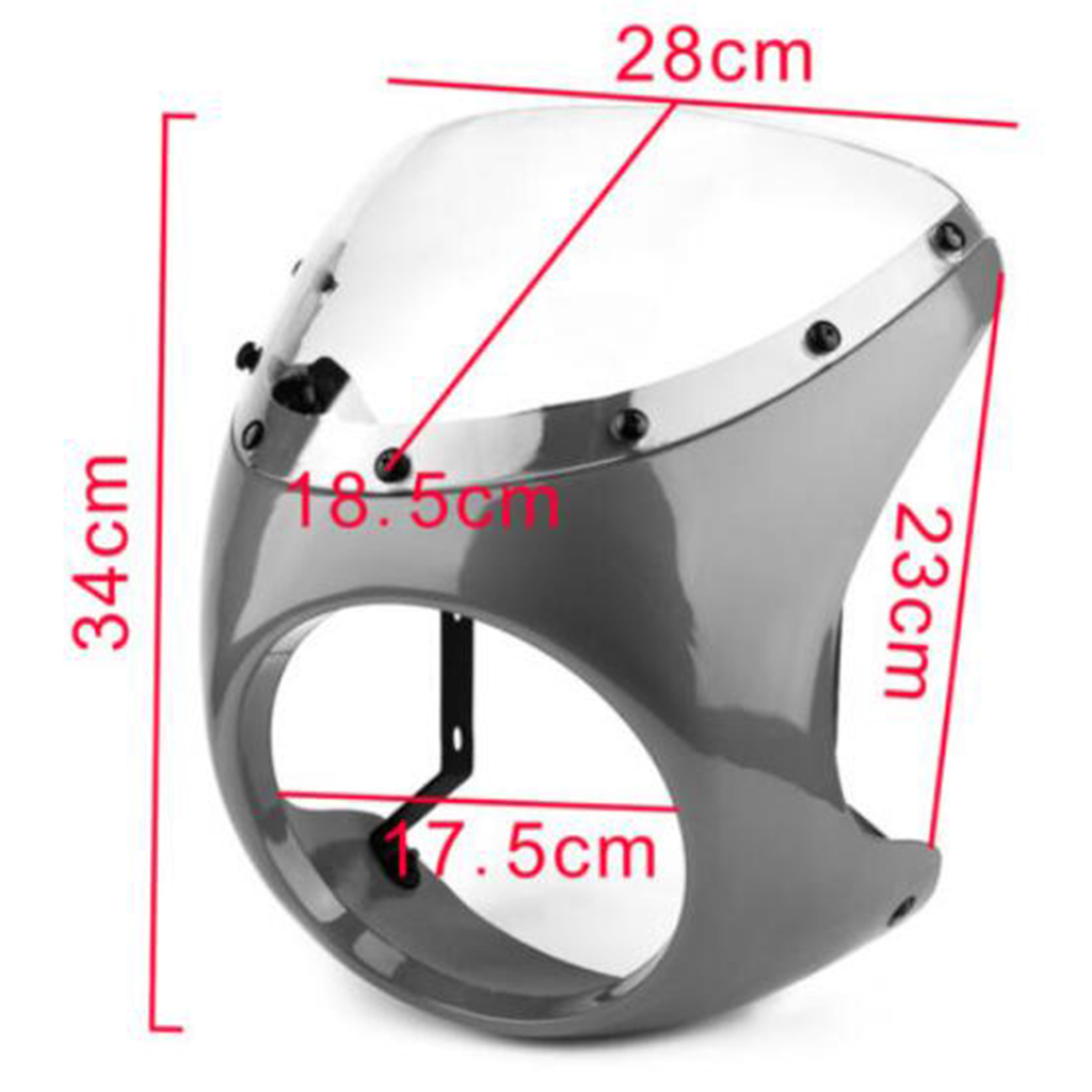 Image 5 - Motorcycle Retro Front Headlight Fairing WindScreen Screen Plastic Universal For Cafe Racer motorcycles headlight WindScreenCovers & Ornamental Mouldings   -