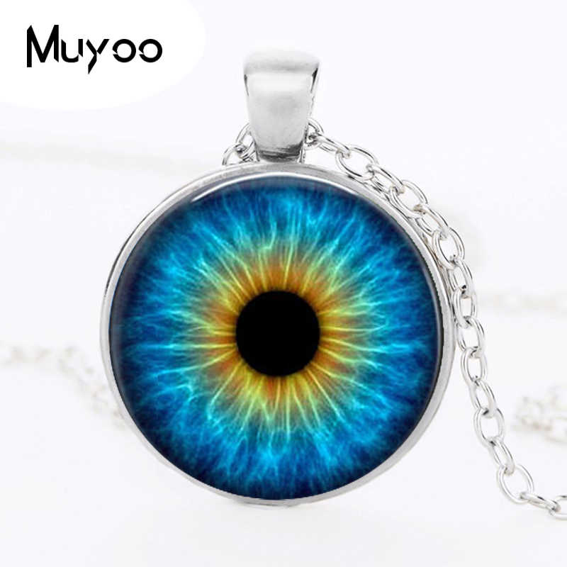 Retail cat's eye crystal pendant necklaces personality dragon eye glass dome pendant necklace black choker jewelry necklace HZ1