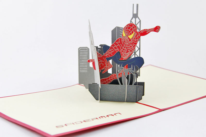 Spider-man postcard /3D cartoon  kirigami card/ handmade greeting cards gift for men  Free shipping jacques lemans часы jacques lemans 42 5f коллекция jl aktion 2017