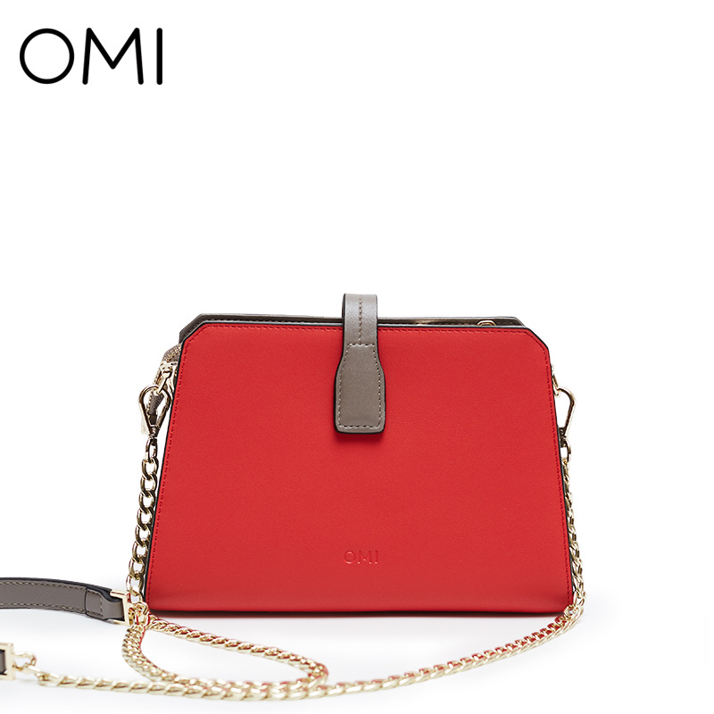 OMI female bag trapezoidal bag leather bag simple shoulder bag mini handbag chain ladies messenger bag
