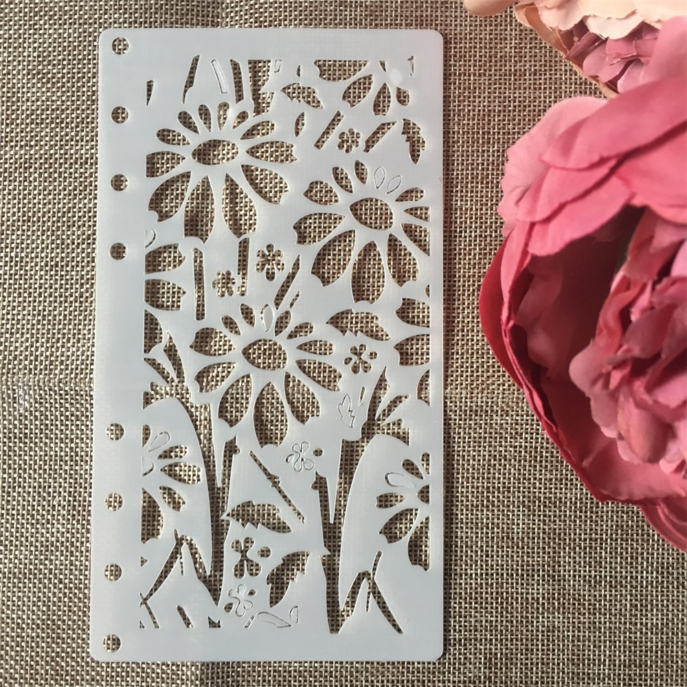 1Pcs A6 Sun Flower Leaf DIY Craft Layering Stencils Wall Painting Scrapbooking Stamping Embossing Album Paper Card Template