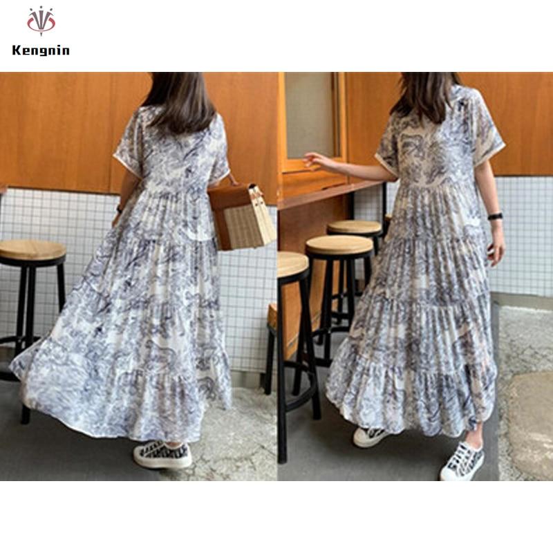 Plus Size 4XL Women Dresses 2019 Summer O-Neck Long Dress Print Short Sleeve Cake Style Vestidos Loose Hollow Out Robe Dresses