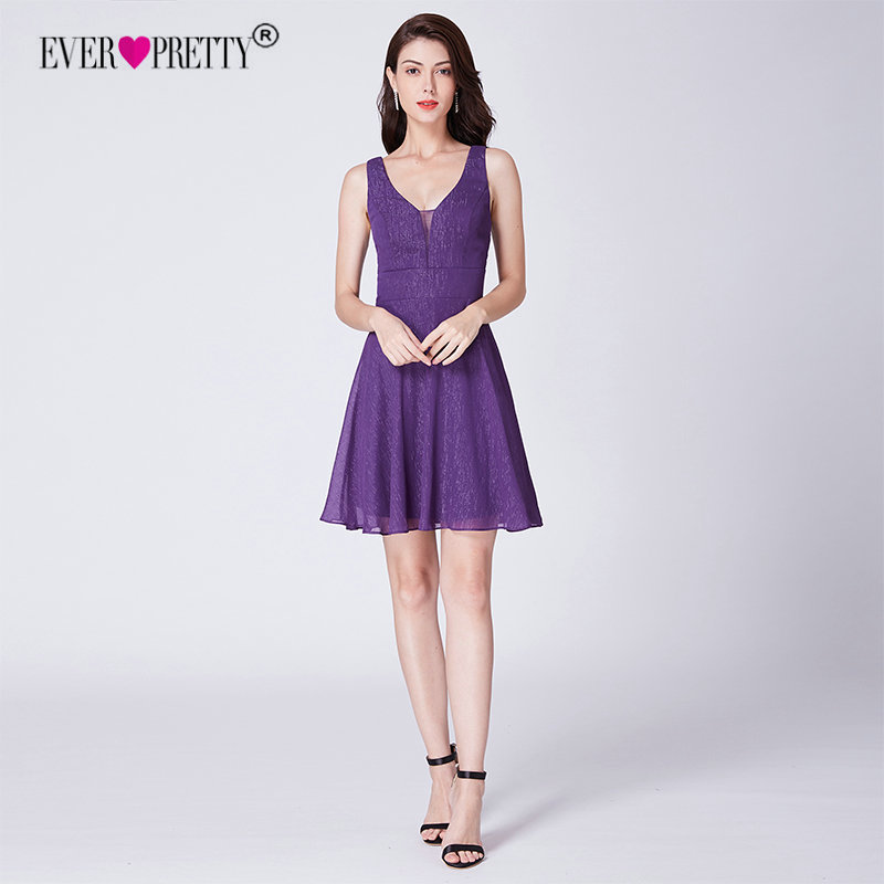 Dark Purple   Cocktail     Dresses   2018 Ever Pretty Sexy V-neck Backless Mini Short Party Gowns Vestido Prata Vfemage   Cocktail