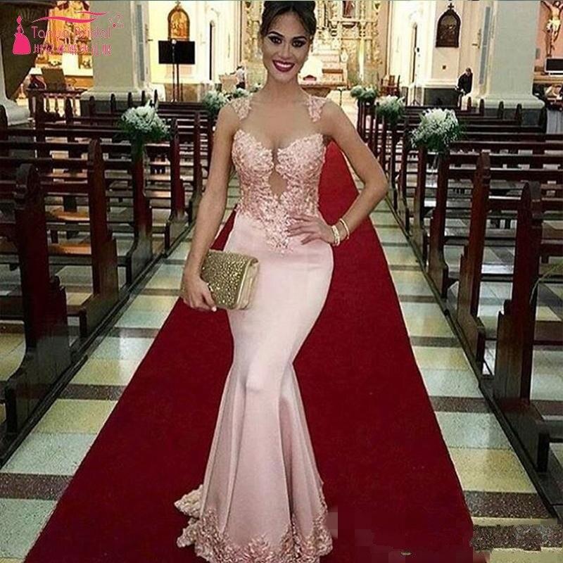 Robe De Festa Longo 2019 robes De bal dentelle sirène robe De soirée longue rose Satin Sexy col transparent Appliques SS120