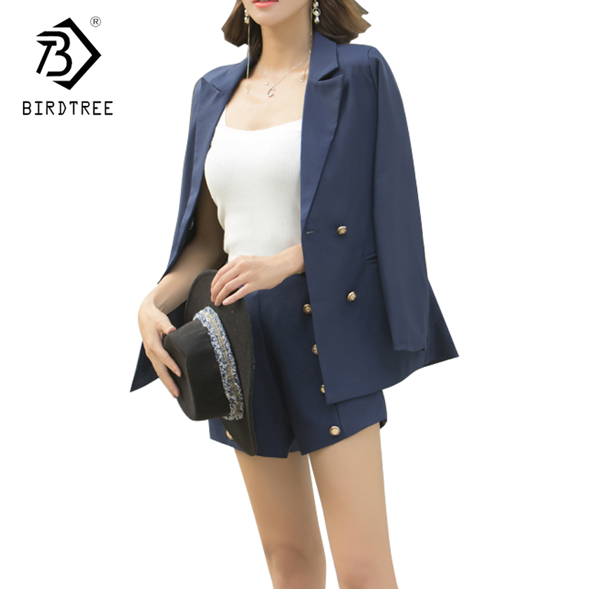 Two Pieces Set Women 2018 New Autumn And Winter Plus Size Fashion Double Breasted Blazer Short